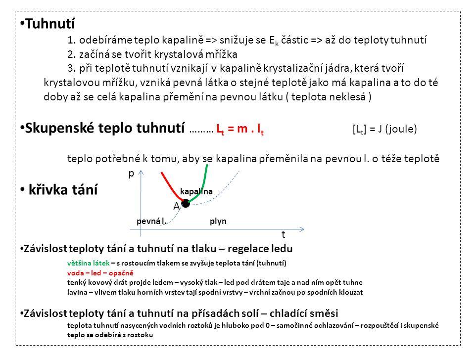 Skupenské teplo tuhnutí ……… Lt = m . lt [Lt] = J (joule)